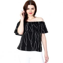 Black printed Moss Crepe Off-shoulder top