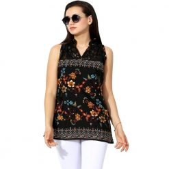 Black Printed Polycrepe Top