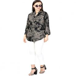 Black Printed rayon Long Top
