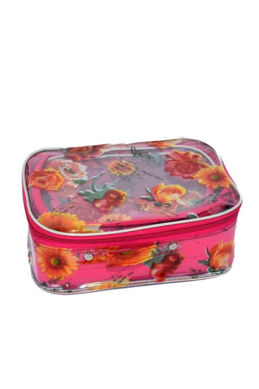 Transparent Flower Printed Cosmetics Box Set of 3