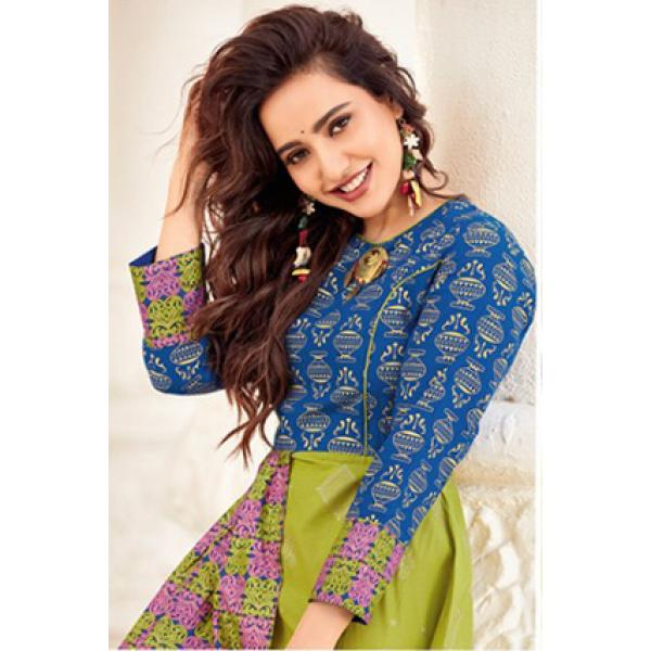 Kajal Style The Mumtaz Blue Printed Party Wear Kurtis