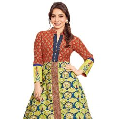 Kajal Style The Mumtaz Red-Yellow Printed Party Wear Kurtis